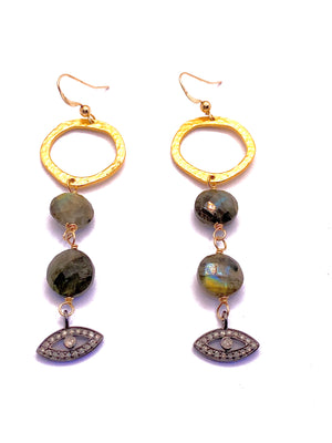 Diamond Evil Eye of Labradorite Earrings