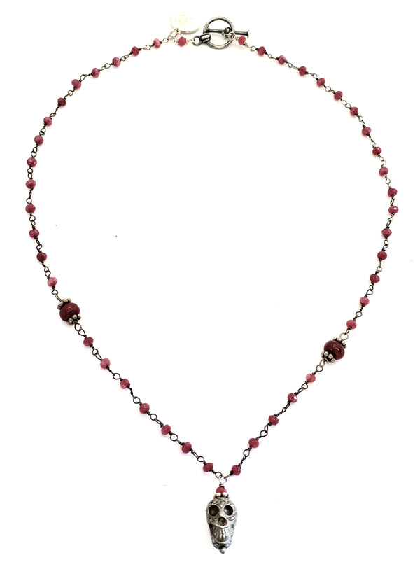 Ruby Mind Skull Necklace