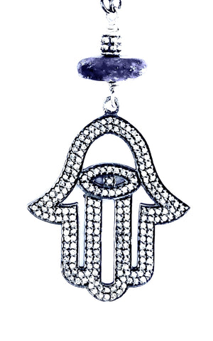 Pave Diamond Hamsa Blue Lapis Silver Necklace