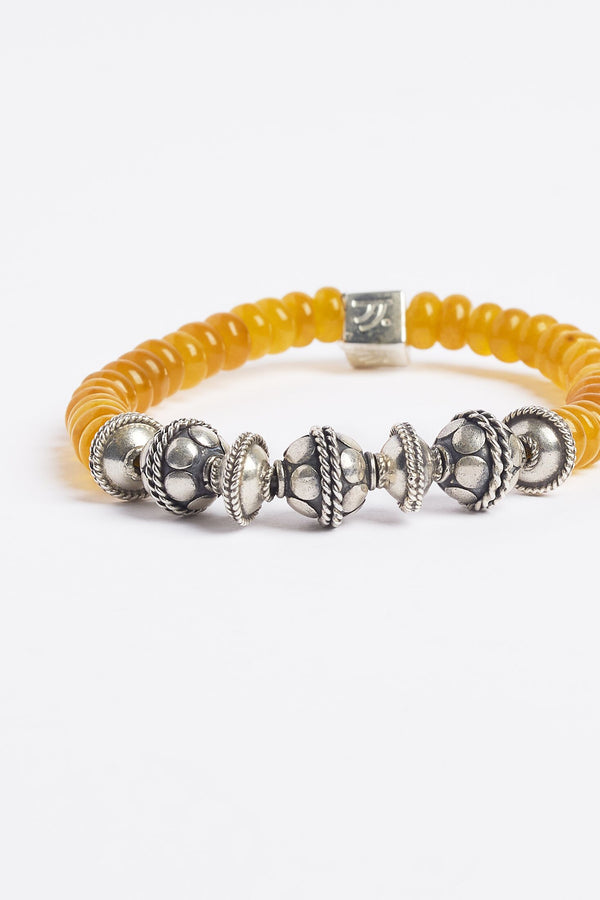Yellow Agate Sterling Silver Burning Amber Bracelet - 2