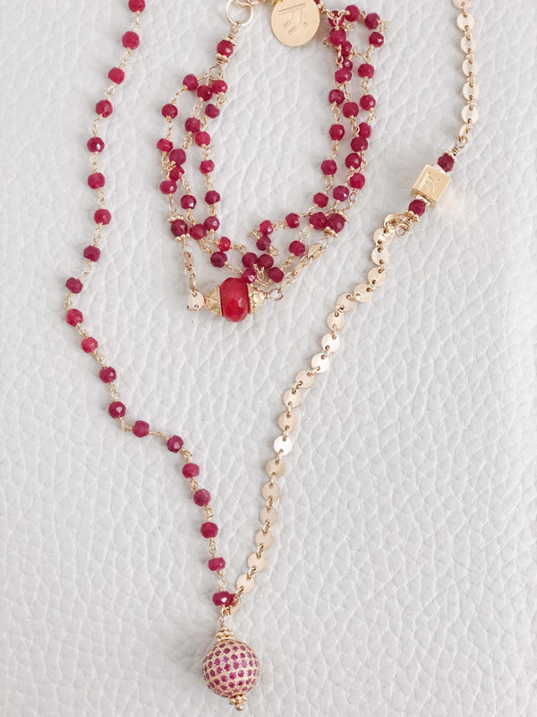 "Cinta ""Love"" Ruby and Pink Sapphire Gold Necklace"