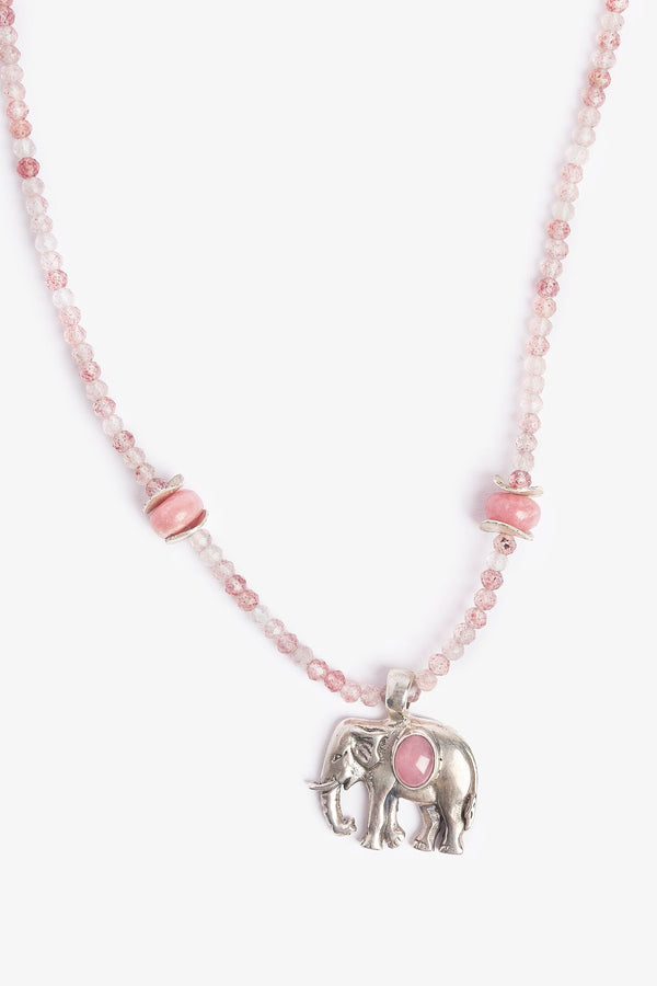 Elephant Love Pink Necklace