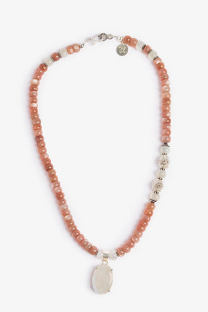 Moonshine Peach Moonstone Necklace