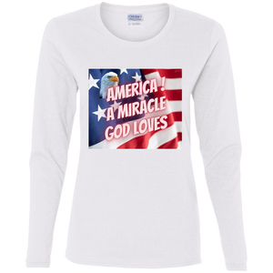 God Loves America  Ladies' Cotton LS