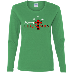 Merry Christmas Ladies' Cotton LS T-Shirt