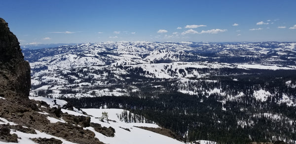 View from the top of Castle Peak, looking at Boreal, Sugarbowl, Donner Ski Ranch, Soda Spring