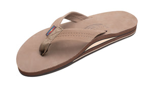 Rainbow Double Layer Premium Leather Mens Sandal (Dark Brown)