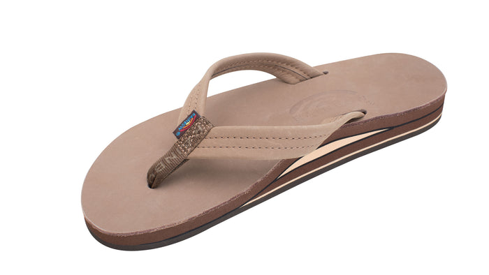 Rainbow Double Layer Premium Leather Womens Sandals (Dark Brown)