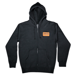 Union Binding Company Standard Black Zip Hoodie with orange Logo