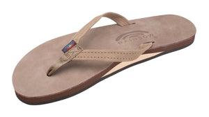 Rainbow Narrow Strap Premium Leather Womens Sandal (Dark Brown)