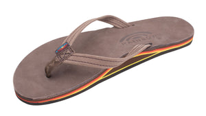 Rainbow Narrow Strap Premium Leather Womens Sandal (Red/Orange/Yellow)