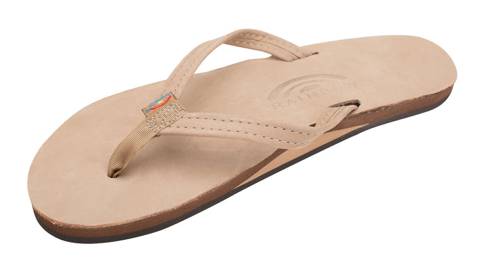 Rainbow Narrow Strap Premium Leather Womens Sandal (Sierra Brown)