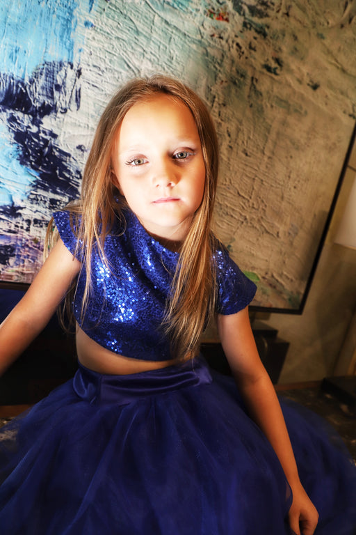 The Bon Bon Couture Dress Royal Blue 2 piece sparkles