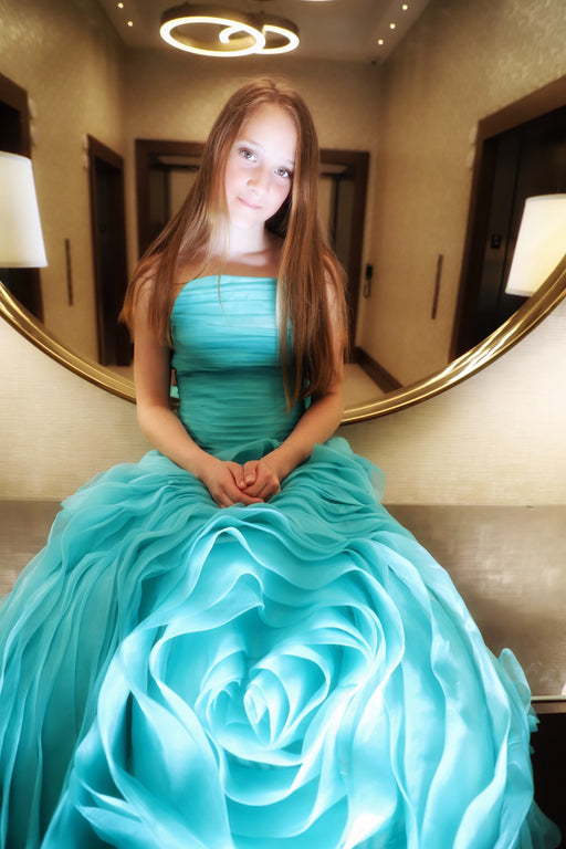 The Sofia Couture Dress Teal Organza Gown