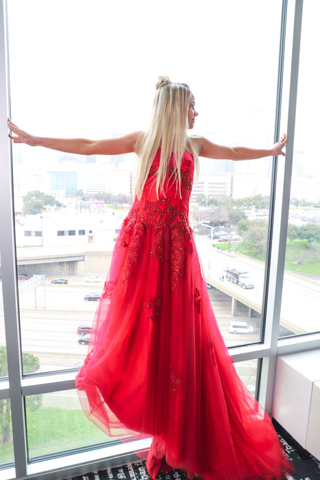The Emily Marie Couture Dress Gown Red Strapless