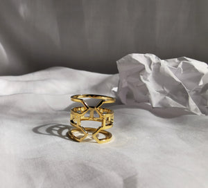 gold sustainable jewellery recycled rings cuffs ethical accessories women