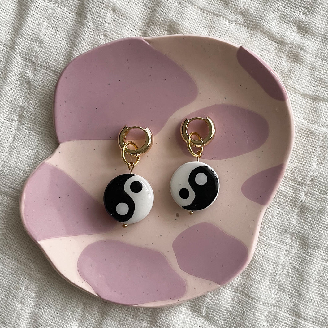 yin yang charm earrings