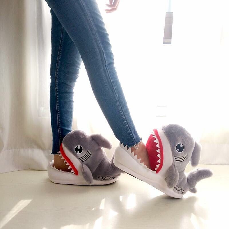 Cute Shark Shape Furry Slippers. - Ocean Autograph