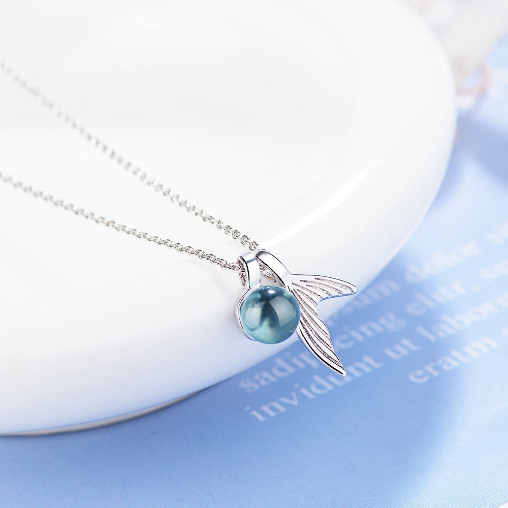 Mermaid Tail And Blue Crystal Pendant Necklace