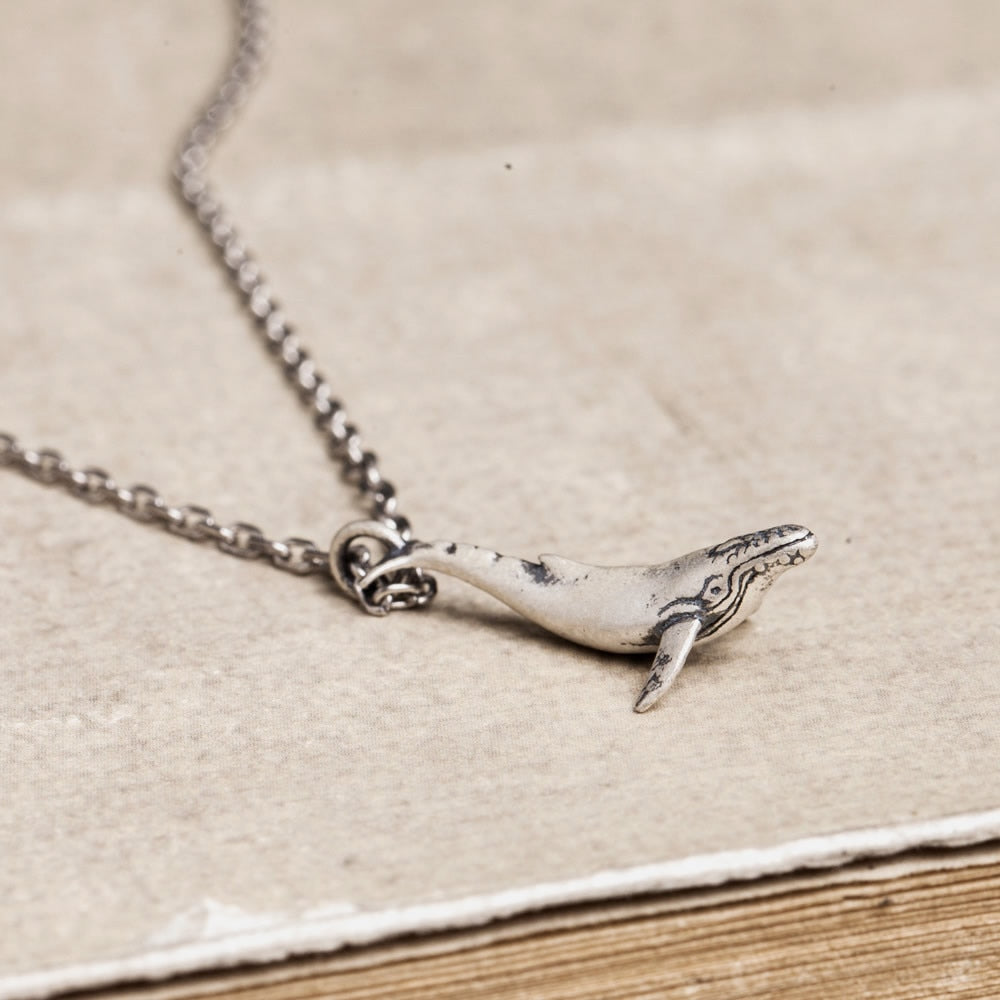 Sterling Silver Whale Pendant Necklace