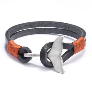 Stainless Steel Whale Tail Leather Bracelet