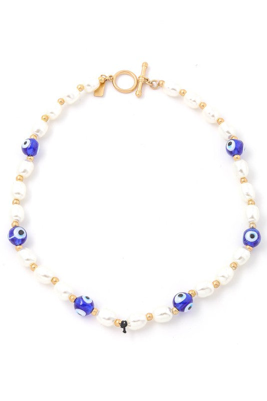 Pearl Beaded Evil Eye Necklace