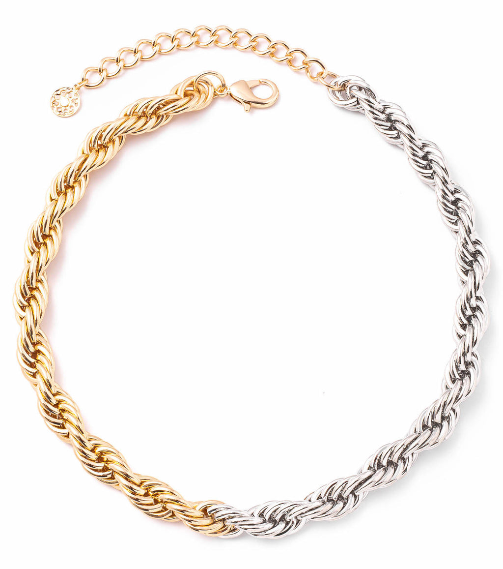 Mixed metals. Chain choker. Choker necklace. Gold and silver choker necklace. trendy mixed metal choker necklaces.