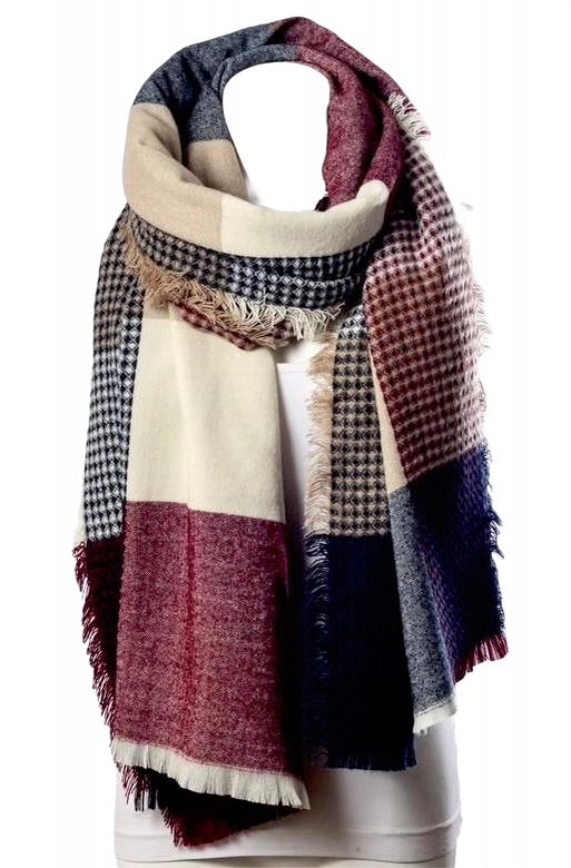 Red/Navy plaid and waffle knit blanket scarf for winter.