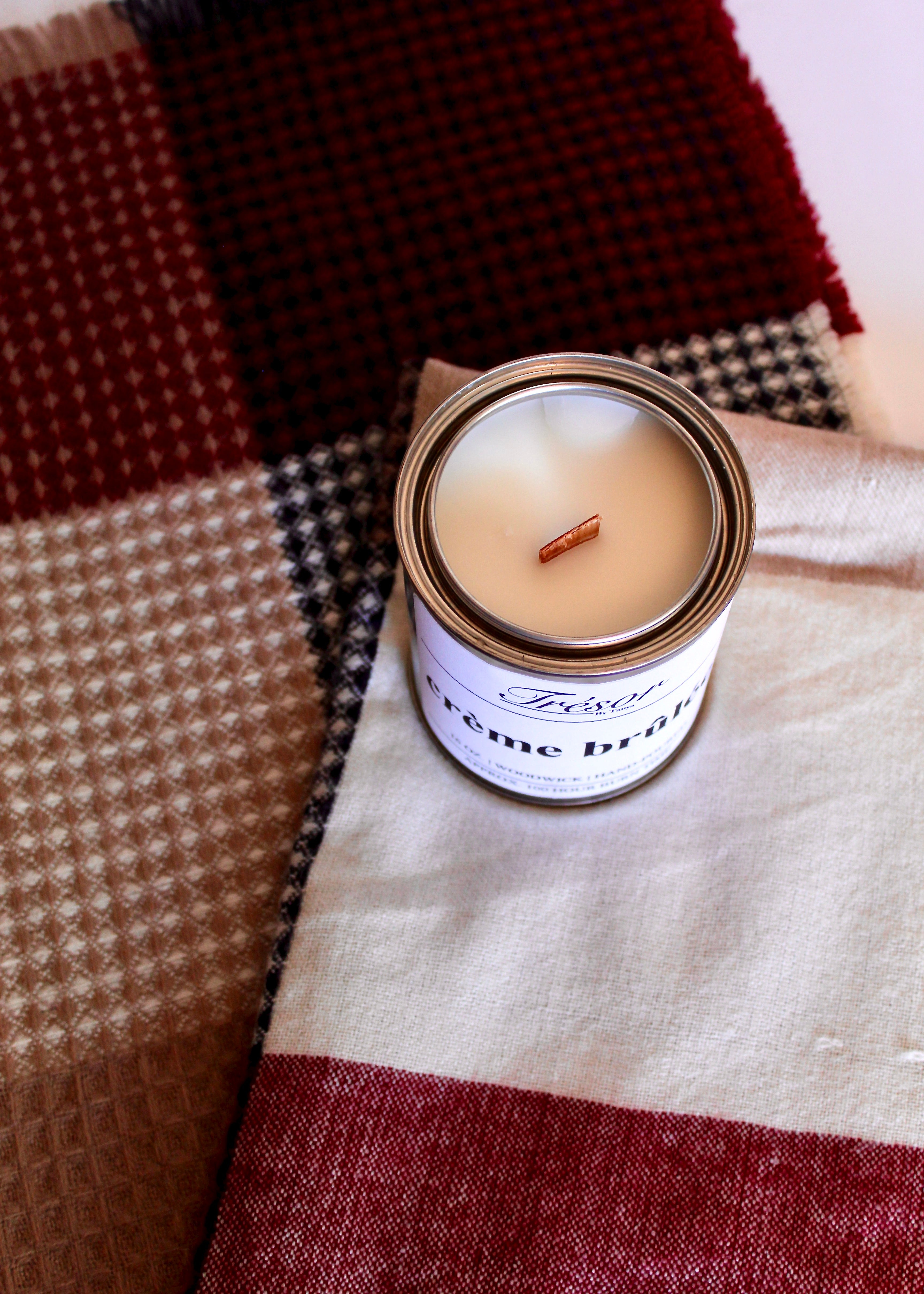 Creme Brûlée scented wood-wick, crackle, hand poured candle and red/navy plaid and waffle knit blanket scarf.