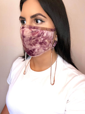 Wine Tie Dye Mask & Rose Gold Chain Set