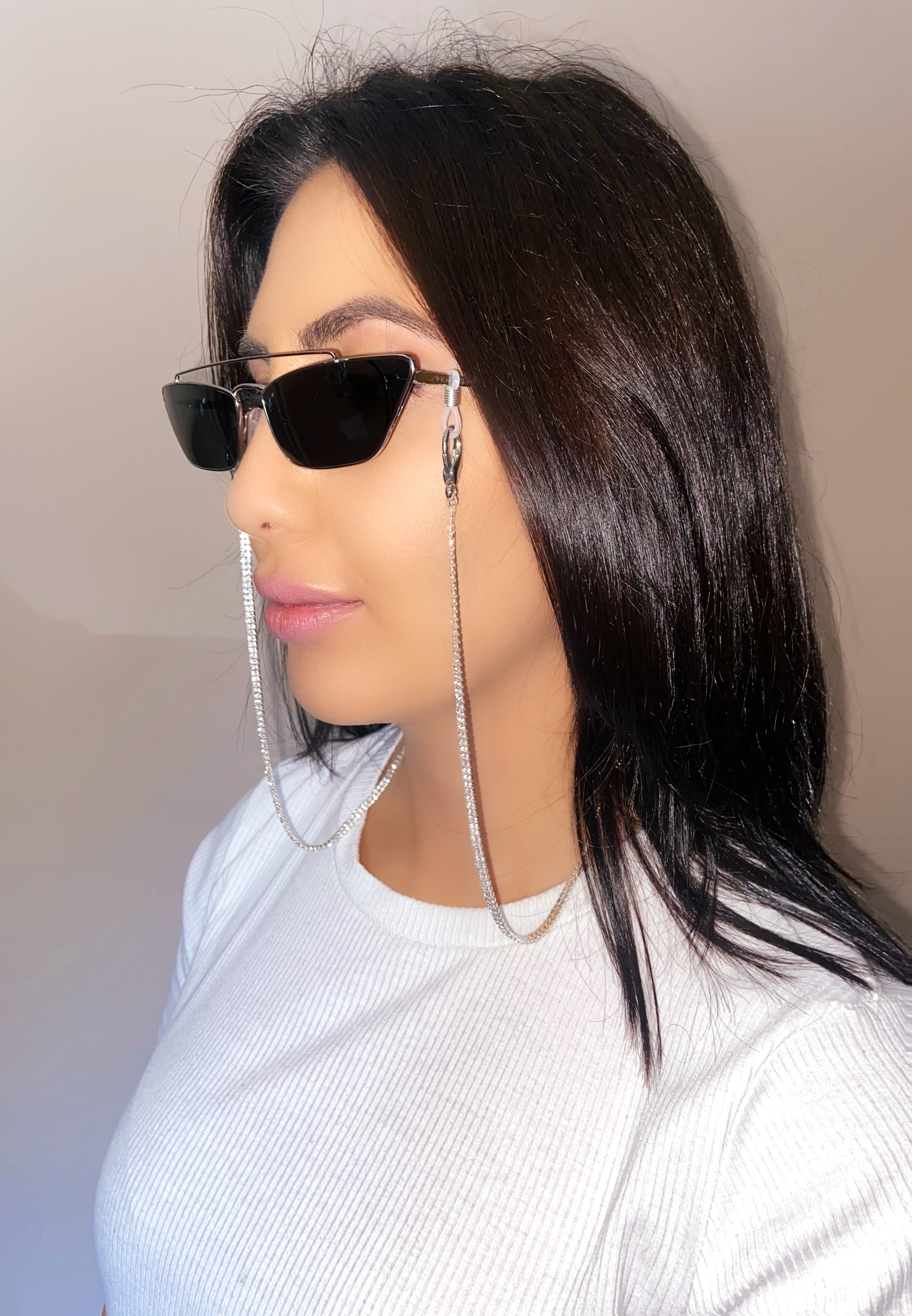Silver // Double Crystal Mask & Sunglass CHAIN ONLY
