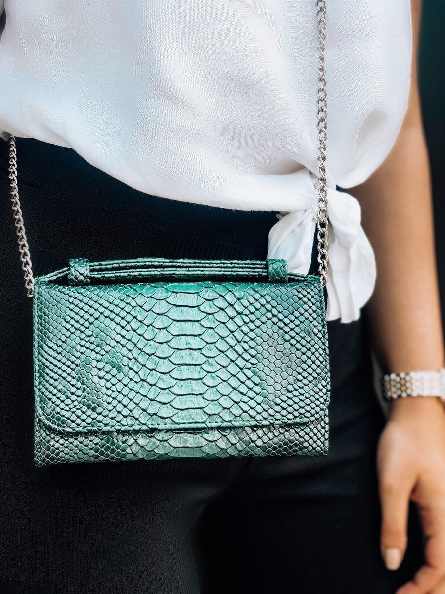 Emerald Green Faux Python Phone Wallet Crossbody