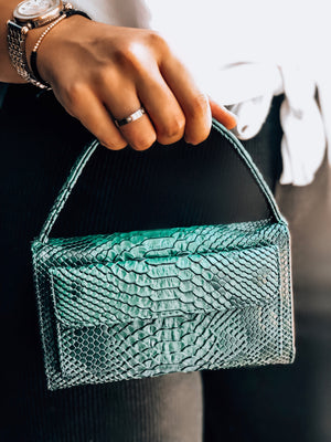 Emerald Green Python Phone Wallet Crossbody