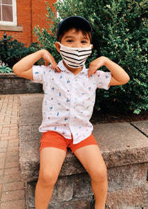 Striped Kid's Cotton Fabric Face Mask