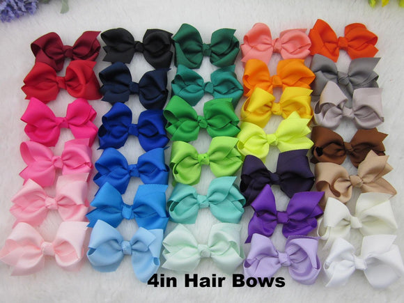 4 inch Solid Color Hair Bow - Alligator Clip