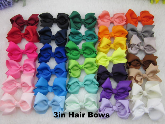 3 inch Solid Color Hair Bow - Alligator Clip