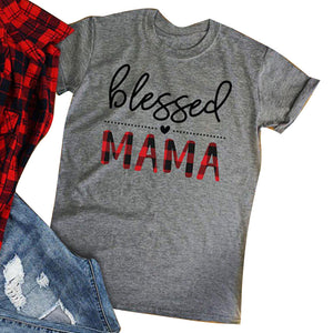 """Blessed Mama"" Buffalo Plaid Tee - Gray"
