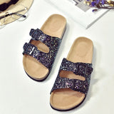 Glitter Cork Sandals - Double Buckle