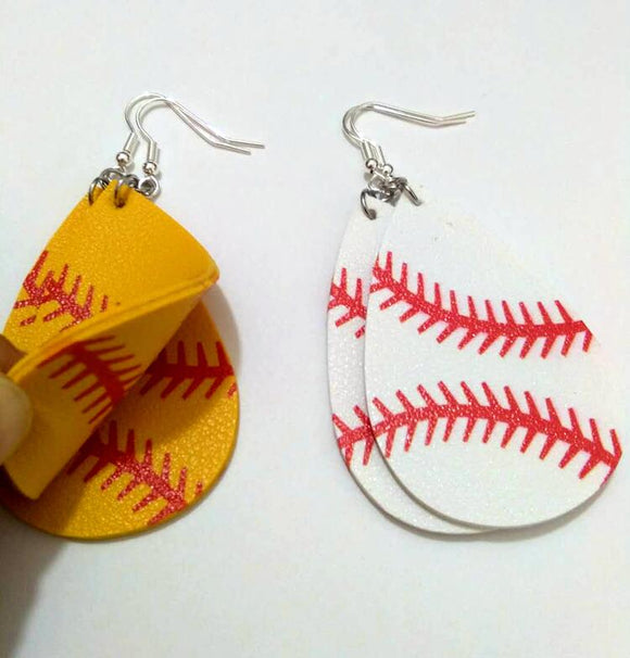 Baseball/Softball Leather Teardrop Earrings