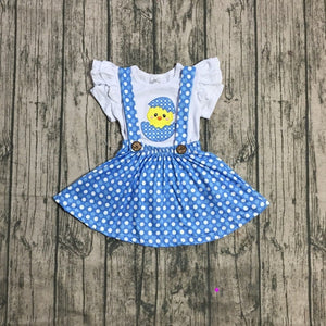 Blue Polka Dot Chick Suspender Skirt Outfit