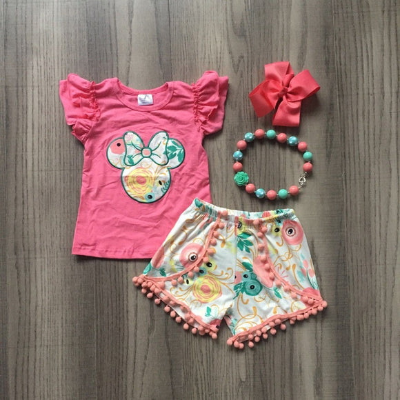 Coral and Mint Floral Minnie Short Outfit