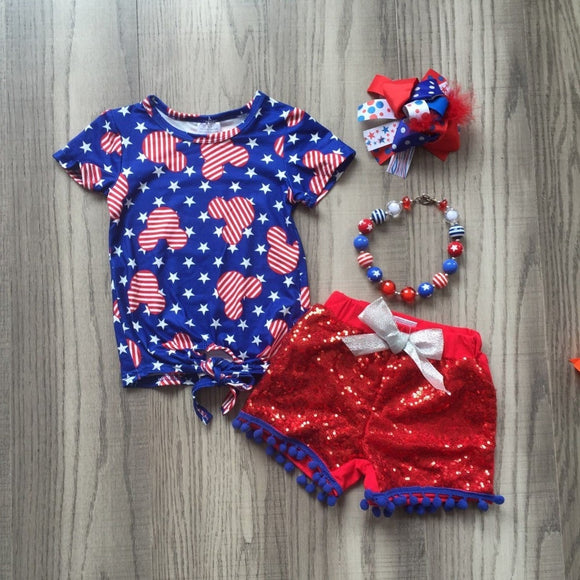 4th of July Mickey Sequin Short Outfit