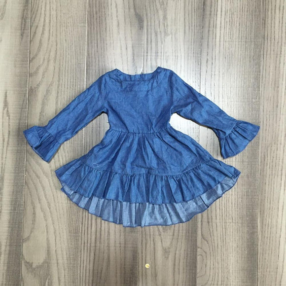 Denim Long Sleeve Ruffle Dress