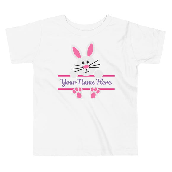 Personalized Bunny Toddler Tee - Pink - MANY COLORS!