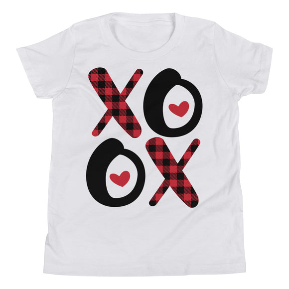 XOXO Buffalo Plaid Youth Tee