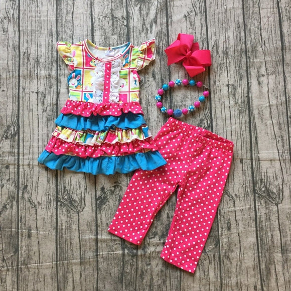 Hot Pink Polka Dot Bunny Boutique Outfit