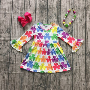 Rainbow Clover Bell Sleeve Dress