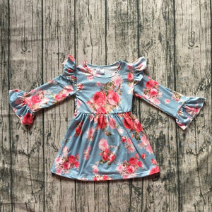 Blue Floral Bell Sleeve Dress