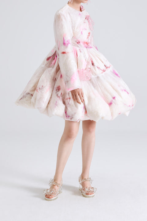 Feather Puff A Line Dress Coat