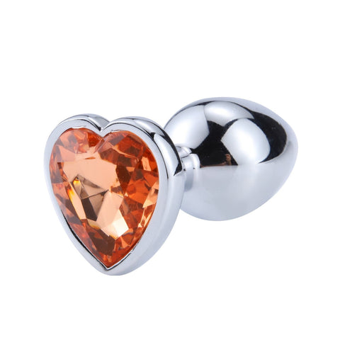 Plug anal diamant métal coeur orange